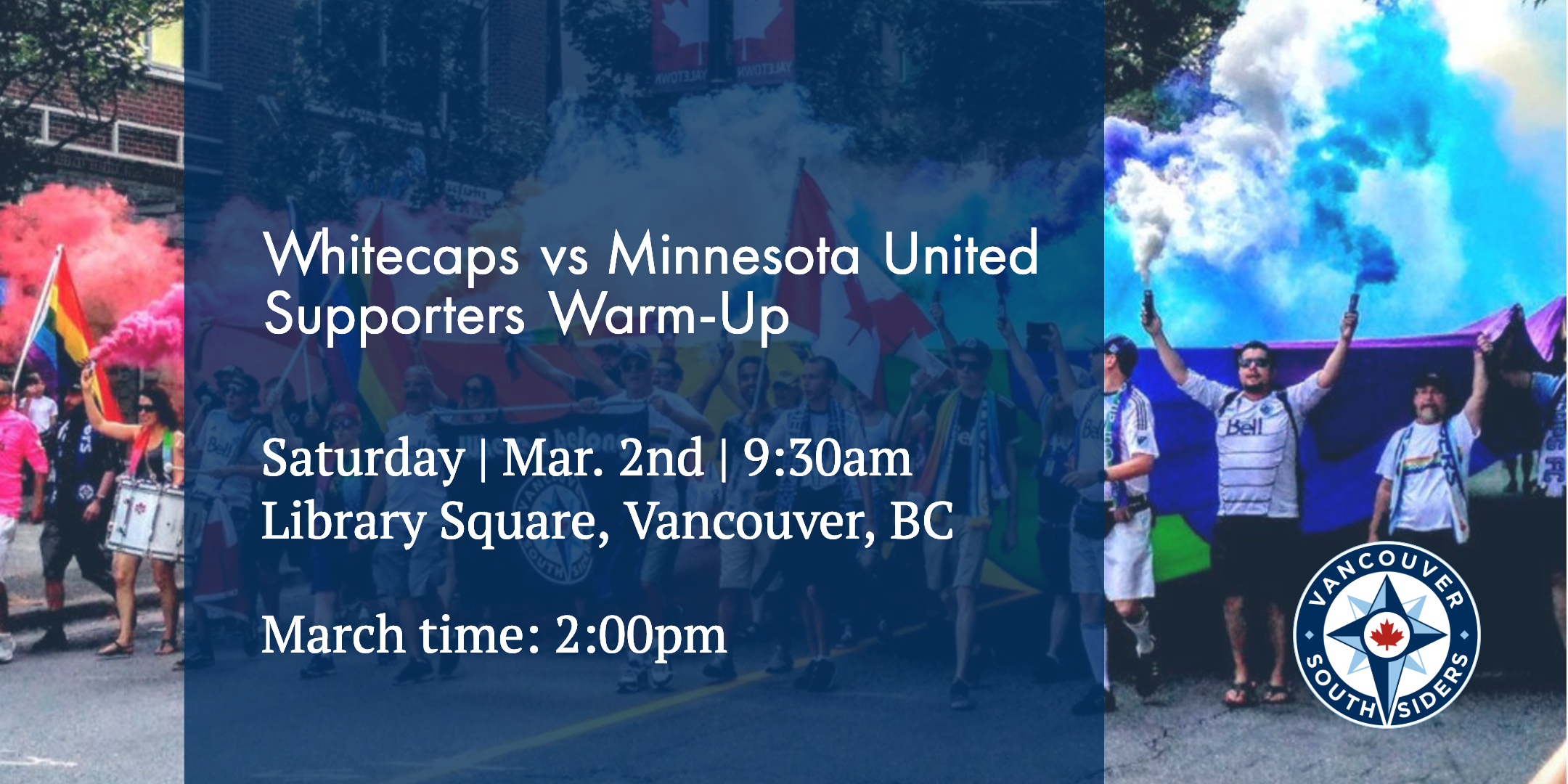 Home game vs MNUFC. Member table set up at 9:30am, march at 2:00pm