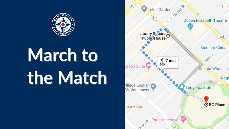 March to the match route: Homer st to Robson st to Terry Fox Plaza