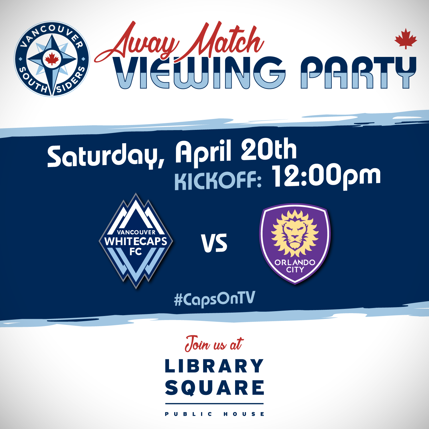 Away match viewing party, Saturday, April 20th. Kickoff 12:00pm