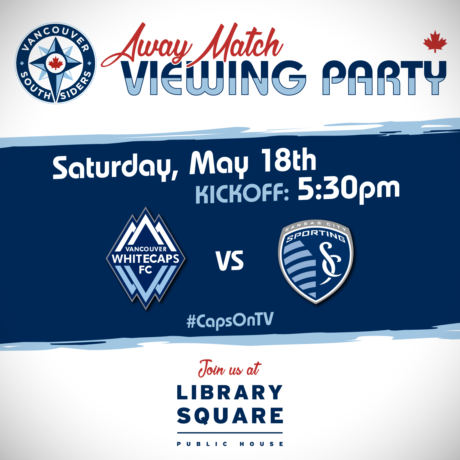 Away match viewing party: Saturday, May 18th, kickoff 5:30pm @ Library Square