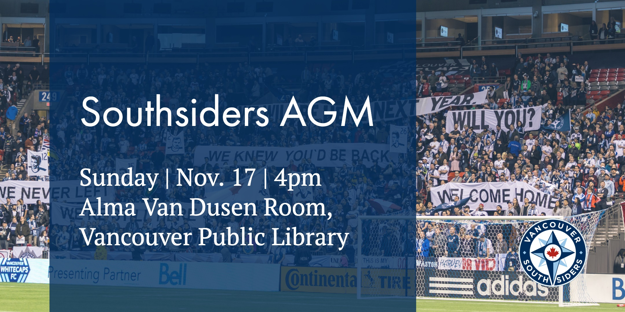 Southsiders AGM - Sunday, November 17th, 4pm @ Alma VanDusen Room